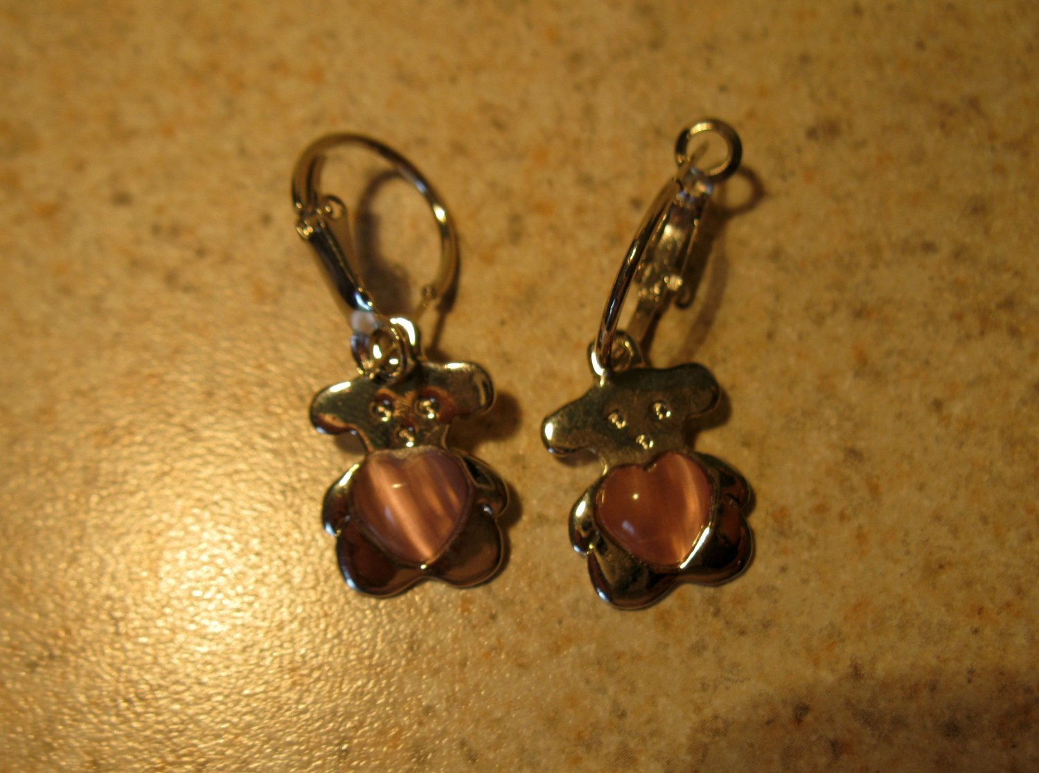 Adorable Silver Teddy Bear with Pink Heart Pierced Dangle Earrings New and Beautiful #707