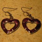 Beautiful Purple Heart Pierced Earrings NEW! #370