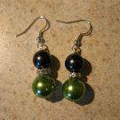 Beautiful Green & Black Pearl Pierced Earrings NEW! #851