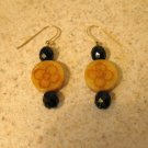 Beautiful Black Onyx Carved Bead Pierced Earrings NEW! #240