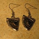 Beautiful Black Wedge Pierced Earrings NEW! #377