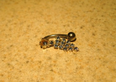 Belly Navel Ring Blue Topaz Triple Chain HOT! #693B
