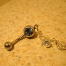 Belly Navel Ring Blue Topaz Coin Dangle #682C