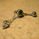 Belly Navel Ring Green Peridot Crystal Heart #534
