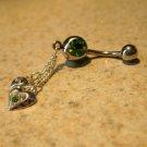 Belly Navel Ring Green Peridot Crystal Heart #534