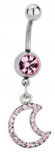 Belly Navel Ring Pink Sapphire Crystal Moon Dangle #427