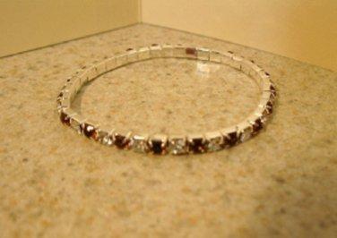 Beautiful Faux Smokey Topaz Gemstone Stretch Tennis Bracelet NEW #884