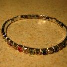 Beautiful Faux Multi-Colored Gemstone Stretch Tennis Bracelet NEW #974
