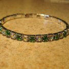 Beautiful Faux Green Peridot Gemstone Stretch Tennis Bracelet NEW #802