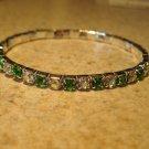 Beautiful Faux Green Peridot Gemstone Stretch Tennis Bracelet NEW #802