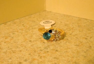 Ring Beautiful Blue & White Topaz Dolphin Design Size 5 New! #217