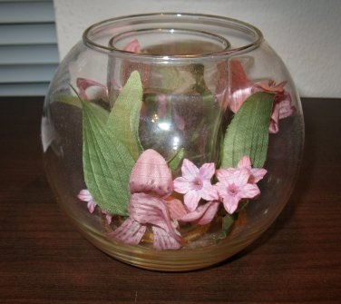 Lovely Pink Fish Bowl Glass Candle Holder #D217