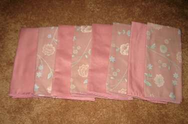 Beautiful Solid Pink X4 & Floral Design X4 Dinner Napkins NEW #D184