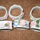 Beautiful White Rose Flower Design Ceramic Napkin Rings X6 NICE! #D179