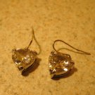 Earrings Silver Heart Shape Pink Sapphire Pierced Beautiful and New #T131