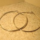 Earrings Silver Large Hoop Earrings Pierced NEW #T103