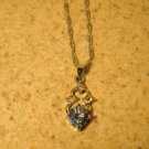 Necklace Womens Gemstone Faux Blue Topaz Solitaire #272