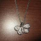 Beautiful Silver Rhinestone Butterfly Design Necklace & Pendant NEW! #D302