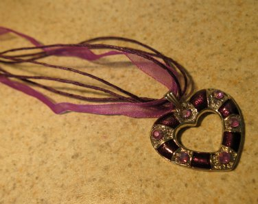 Lovely Necklace & Pendant Purple Heart Gemstone #369