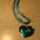 Lovely Necklace & Pendant Aqua Blue Double Heart Gemstone #367