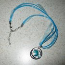 Lovely Aqua Circle Gemstone Necklace with Ribbon Cord #373/473