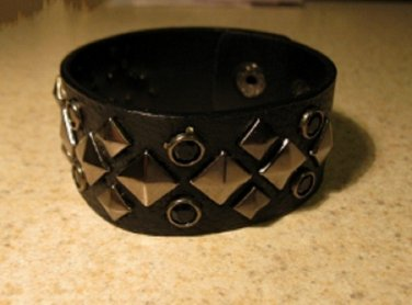Bracelet Men Women Black Leather Stud Punk Unisex HOT #39