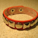 Red Leather Wide Stud Bracelet NEW! #747