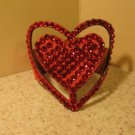 Red Leather Rhinestone Bling Heart Bracelet HOT! #429