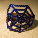 Metallic Blue Leather Rhinestone Bling Spider Web Punk Bracelet HOT! #417