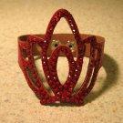 Red Leather Rhinestone Bling Tiara Punk Bracelet HOT! #929