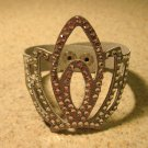 Metallic Silver Leather Rhinestone Bling Tiara Punk Bracelet HOT! #930