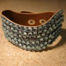 Metallic Blue Leather Rhinestone Bling Wave Punk Bracelet HOT! #419