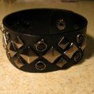 Unisex Wide Black Leather Diamond Shape Spike Studded Punk Bracelet HOT! #39