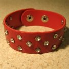 Unisex Wide Red Leather Rhinestone Studded Bling Punk Bracelet HOT! #107