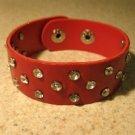 Unisex Wide Red Leather Rhinestone Studded Bling Punk Bracelet HOT! #107