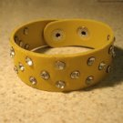 Unisex Wide Yellow Leather Rhinestone Studded Bling Punk Bracelet HOT! #106