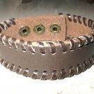 Bracelet Unisex Chocolate Brown Leather Wraped Edge Design #44