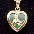 Lovely Green Jade Zodiac Dog Necklace 18k Gold Plate For Children NEW! #399
