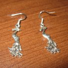 Tibetan Silver Pierced Earrings Peacock Design Beautiful & New #D281
