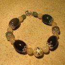 Agate and Quartz Gemstone Bangle Bracelet NEW #363