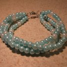 Blue and White Pearl Bangle Bracelet New #443