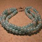 Blue and White Pearl Bangle Bracelet New #443