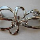Unique Silver Rhinestone Ribbon Pin NEW! #467
