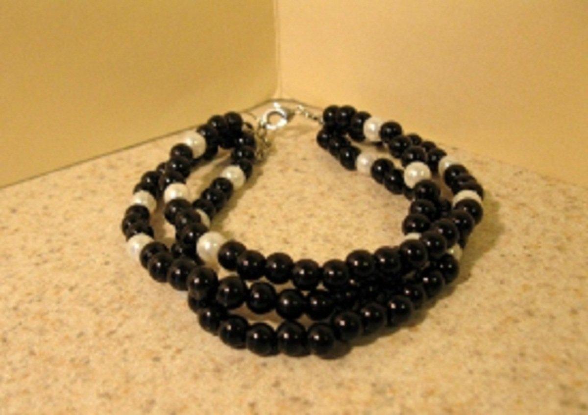 Black Jade with White Pearls Bangle Bracelet HOT! #433