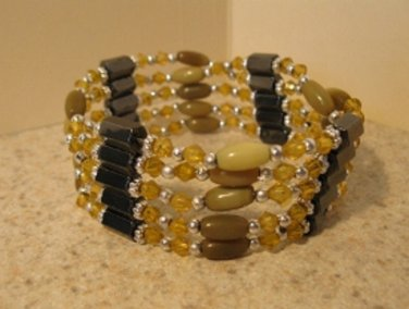 Bracelet Golden Crystal & Hematite Wrap Magnetic NEW & HOT! #895