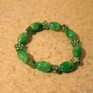Green Jasper with Green Decorative Bead Bangle Bracelet HOT! #970