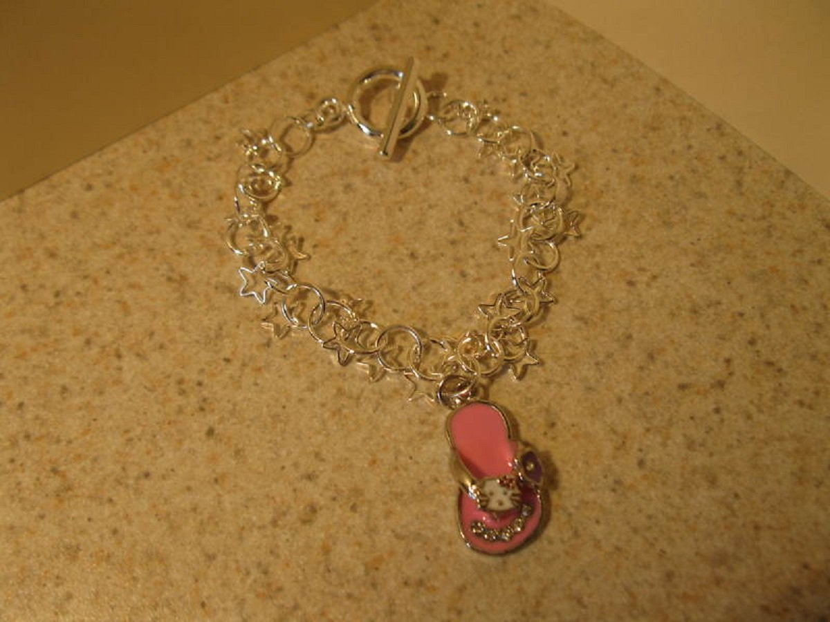 Bracelet Silver Plated Pink Slipper Charm Hot! #520