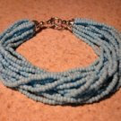 Bracelet 14 Strand Twisted Blue Coral #934