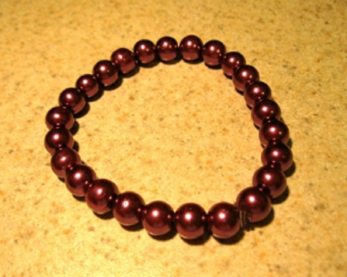 Purple Pearl Bangle Bracelet New #532