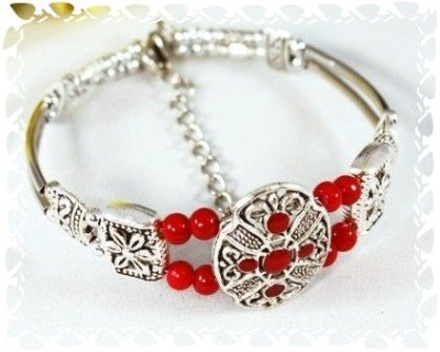 Tibetan Silver Red Ruby Bead Cuff Bangle Bracelet New #512